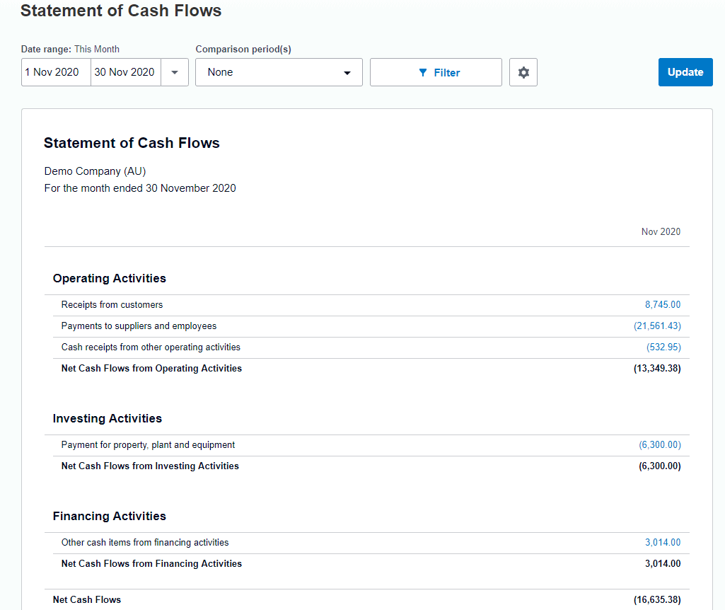 Statement Cash Flows Xero